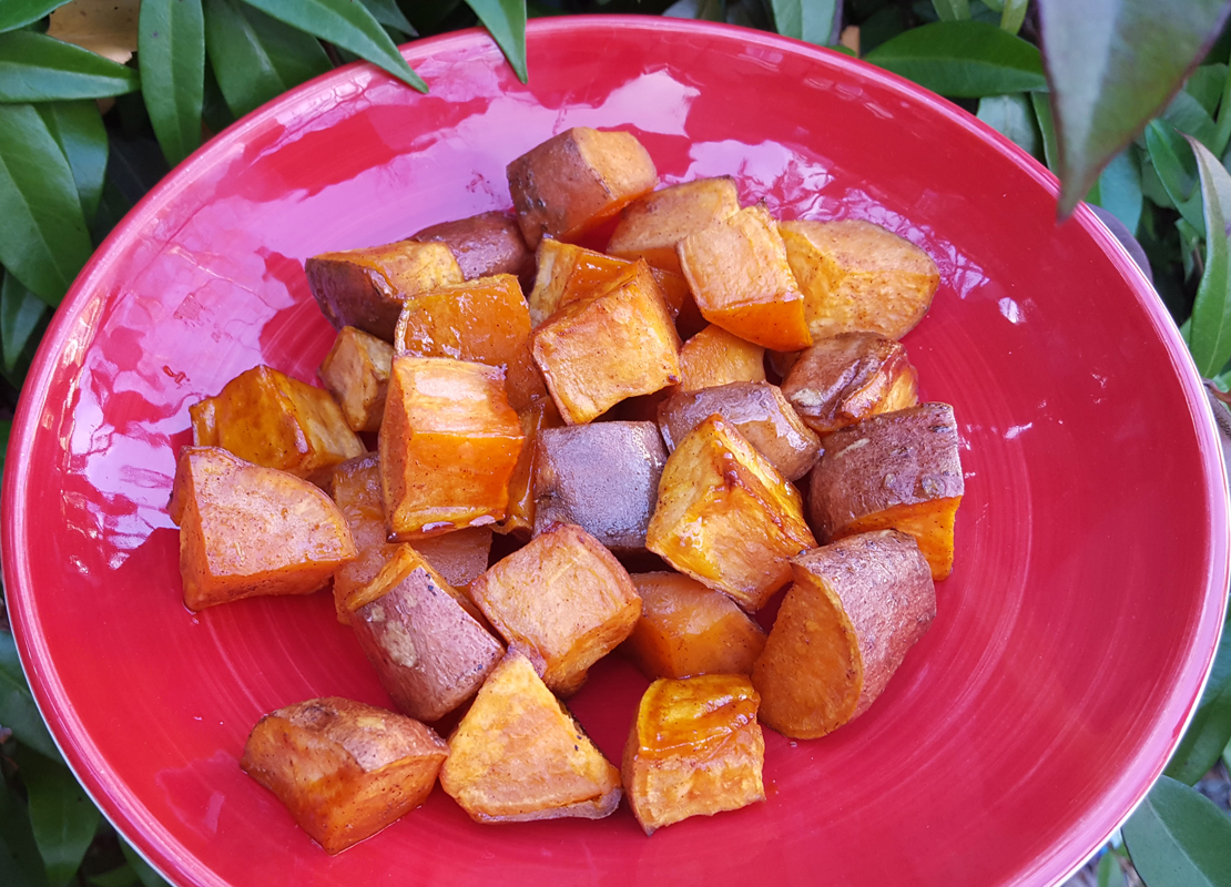 Orange, honey and cinnamon baked sweet potatoes