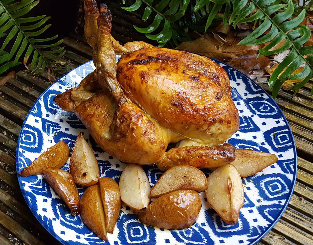 Cinnamon roasted chicken with spiced pears