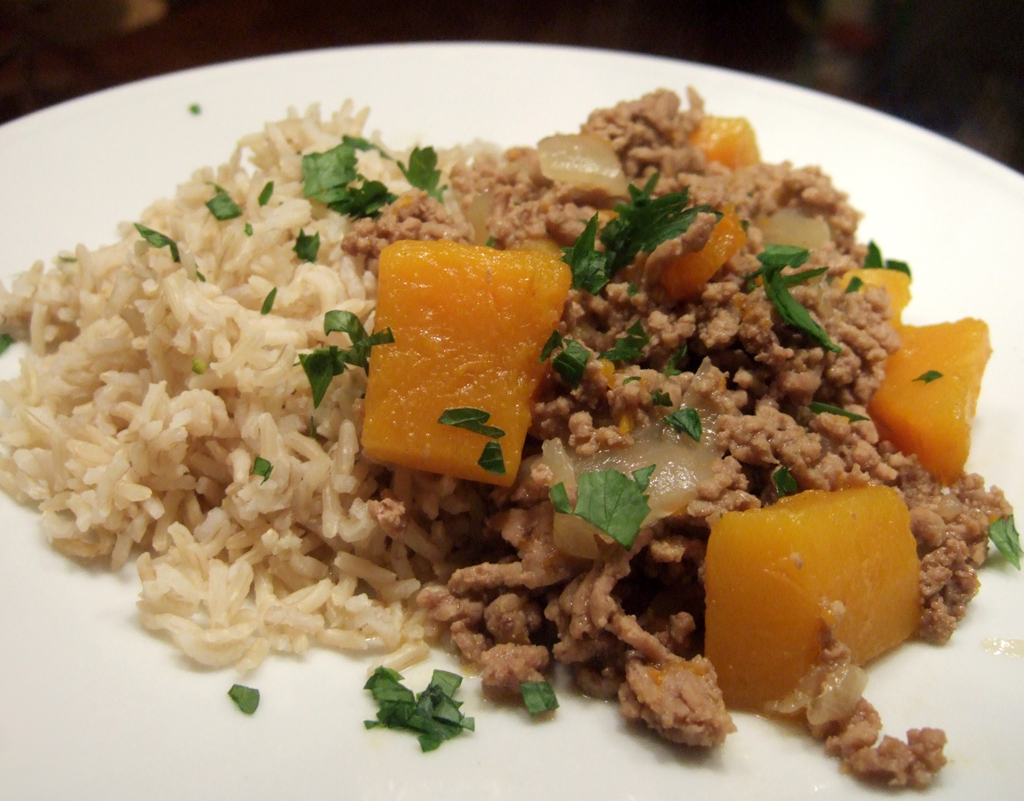 Minced lamb curry with squash